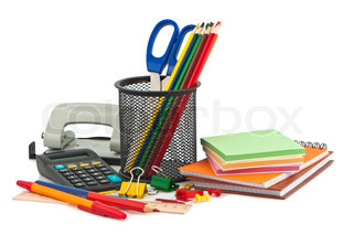 Set of stationery items