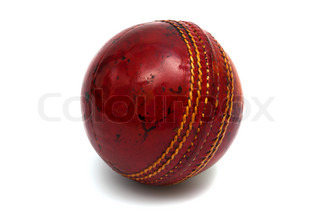 red ball cricket on a white background