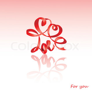 Word LOVE with hearts and funny faces isolated on white background. design for Valentine`s Day or Wedding invitation.