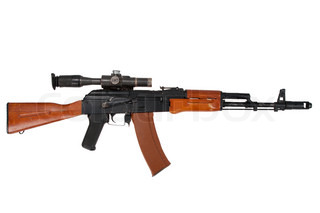 kalashnikov ak74 with sniper scope isolated on a white background
