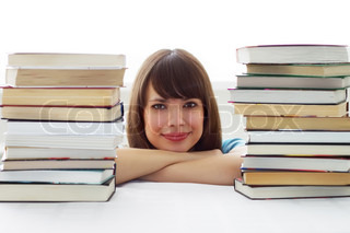 The girl's face and Books Stacks