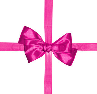 pink ribbon and bow isolated on white background
