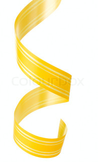 Curly yellow ribbon hanging isolated on white background