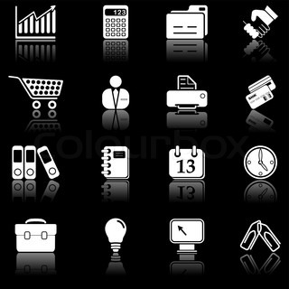 Business icons mit Reflexion, black series