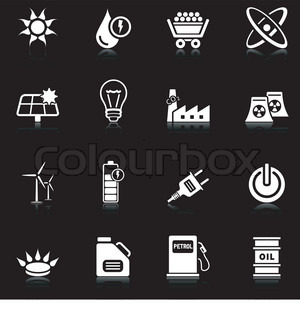 Set of 16 professional energy icons with reflection, black series