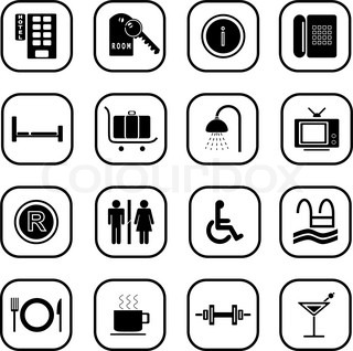 Set of computer icons related to the hotel business, B&W series