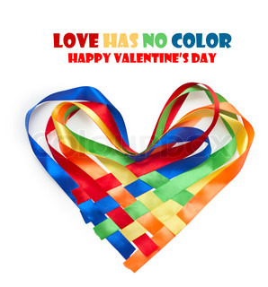 Heart made of intertwined colored ribbons Symbol of love and Valentine's day