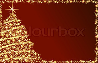 Shiny christmas tree with stars and red background
