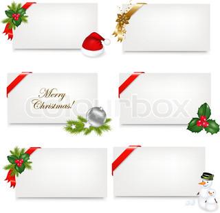 Christmas Blank Gift Tag Set, Vector Illustration