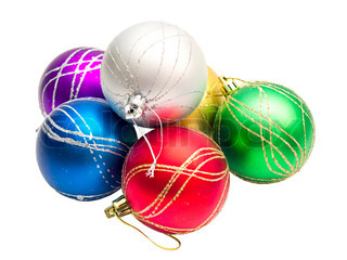 multi-colored Christmas balls isolated on white background