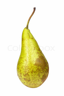 Old pear fruit isolated on white