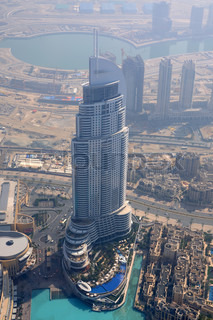 Aerial view of the Address Hotel in Dubai, United Arab Emirates