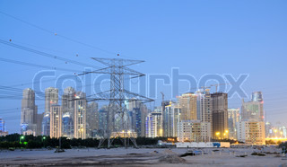 Electrical Tower and Dubai City in the background United Arab Emirates