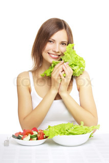 girl with vegetable salad isolated on white