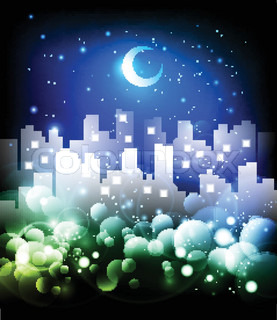 Night city skyline abstract background - vector illustration