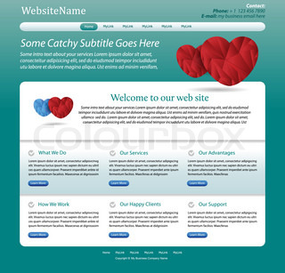 website template medical, health care theme - green design with hearts - great layout for a doctor, clinic, hospital, health care or pharmacy company