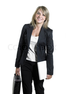 Studio photography of a young smiling business woman with briefcase and laptop isolated on white