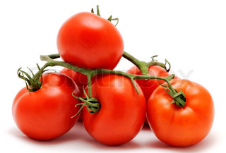 Bunch of fresh red tomatoes, placed on the white background