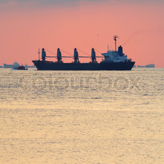 Big cargo ship escorted by small boat to a big sea port with lots of ship in the background, warm sky in background