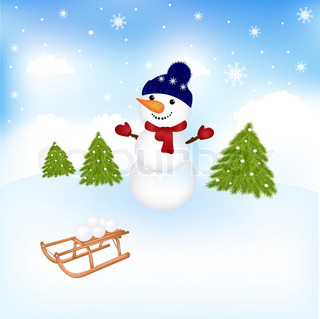 Christmas Snowman, Vector Illustration