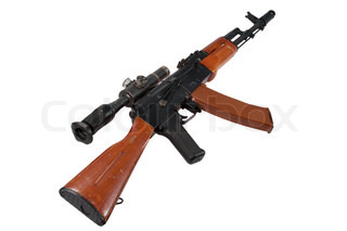 kalashnikov assault rifle ak with sniper scope isolated on a white background