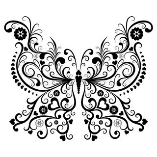 Vintage black valentine butterfly isolated on white background vector
