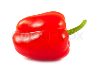 Single red pepper isolated on white background