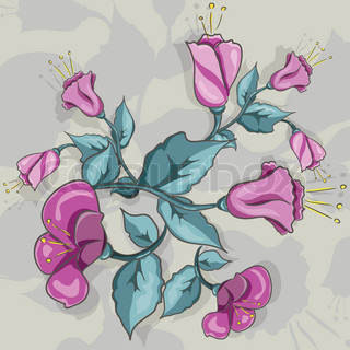 abstract illustration of purple flowers on a gray background
