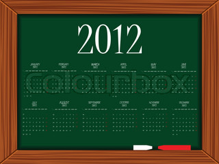 2012 calendar on school board, abstract vector art illustration