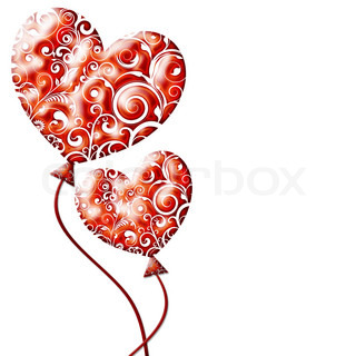 Red valentine hearts as ballon isolated on White background