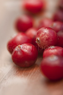 Raw wild cranberries, shallow focus, marco, small depth of field