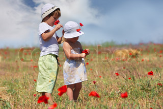 two children in field