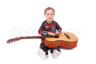 boy with guitar on the white background