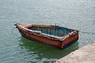 wooden boat on the sea