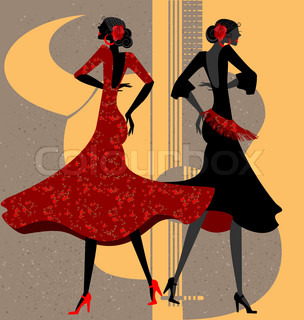 on abstract background are two women - Spanish dancers