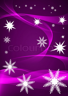 Snowflakes on a purple background with smooth lines