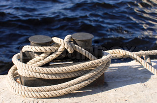 boats and docks to which ropes are tied