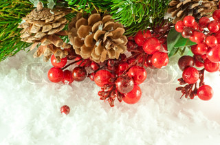 Christmas branch of berries with a gold fur-tree against snow