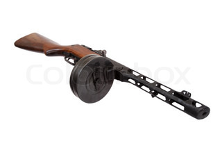 soviet submachine gun ppsh-41 isolated on a white background