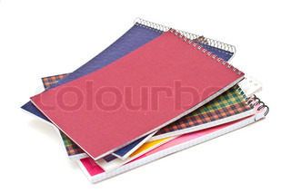 Several notebooks, isolated on white background