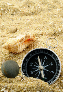 seashells on the sand and the compass