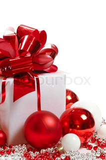 Gift box with Christmas decorations on white background