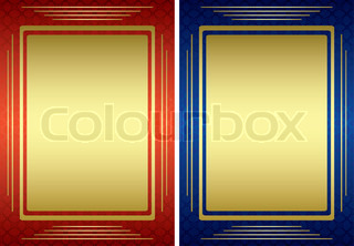 red and blue frames with golden decoration