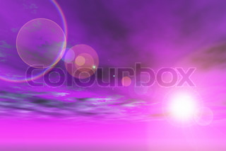 Purple sky with sun and lens flare