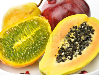 Tropical Fruits Assortment On White Background , Close Up