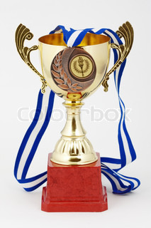 gold cup on white background with bronze medal