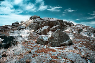 stone tomb infrared landscape
