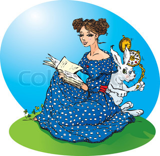 Alice`s adventures in Wonderland. Alice read a book, White Rabbit run in a great hurry.No title