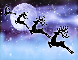 Reindeer silhouette at night sky, Santa's deers flying high up next glowing stars background and moon, magic abstract fantasy, Christmastime winter holidays fairytale
