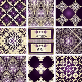 vector eight seamless patterns and frame for your text
